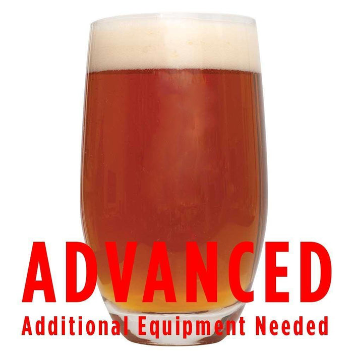 "Smashing Pumpkin Ale in a glass with a customer caution in red text: ""Advanced, additional equipment needed"" to brew this recipe kit"