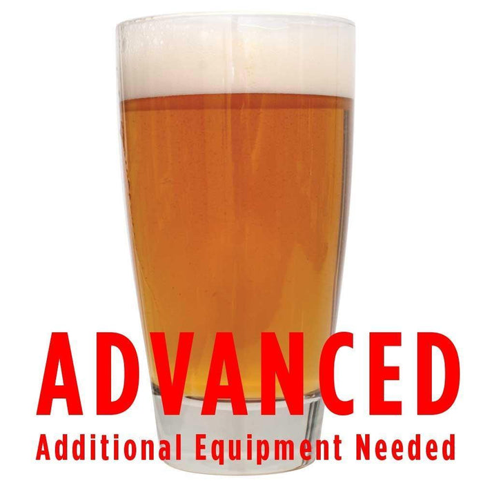 "American Amber Ale homebrew in a glass with an All Grain warning: ""Advanced, additional equipment required"""