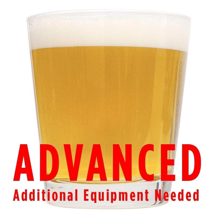 "Cream Ale homebrew in a glass with an All-Grain warning: ""Advanced, additional equipment needed"""