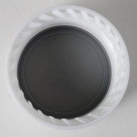 28 millimeter Screw Cap with a black interior. QB-715 is written in the interior.