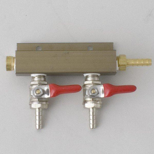 "CO2 Distributor 2 Way w/ 1/4"" barb shutoff"