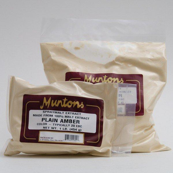1- and 3-pound bags of Muntons Amber DME