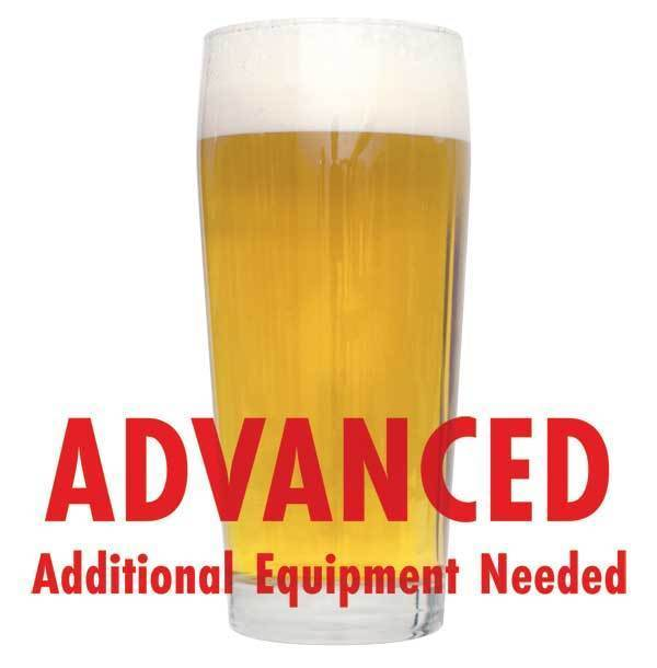 "Kolsch homebrew in a glass with an All-Grain caution in red text: ""Advanced, additional equipment needed"""