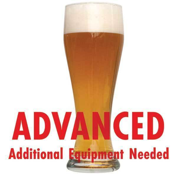 "Bavarian Hefeweizen homebrew in a glass with an All Grain warning: ""Advanced, additional equipment needed"""