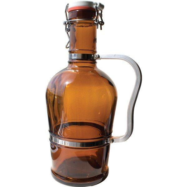 Two-liter, Brown glass German growler with a swing-top closure, ceramic lid and heavy-duty standard metal handle.