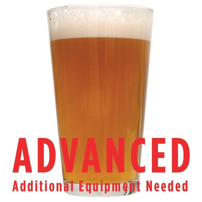 "A drinking glass filled with Tangerine Ravine Pale Ale with a customer caution in red text: ""Advanced, additional equipment needed"" to brew this recipe kit"