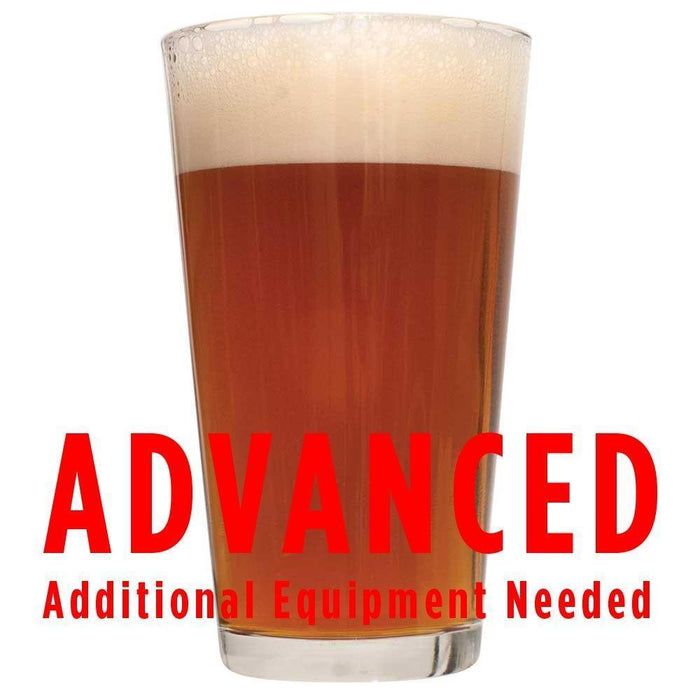 "Mosaic IPA in a glass with an All-Grain caution in red text: ""Advanced, additional equipment needed"""