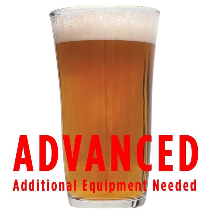 "The Tombstone Pale Ale in a glass with a customer caution in red text: ""Advanced, additional equipment needed"" to brew this recipe kit"