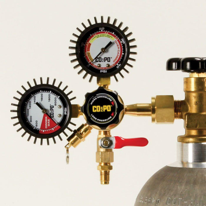 The CO2PO dual-gauge co2 regulator attached to a keg