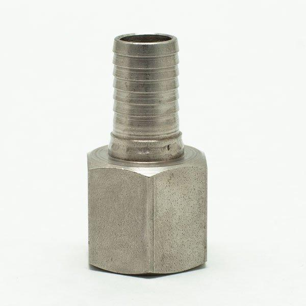 Female Stainless 1/2 inch NPT by 1/2 inch Barb