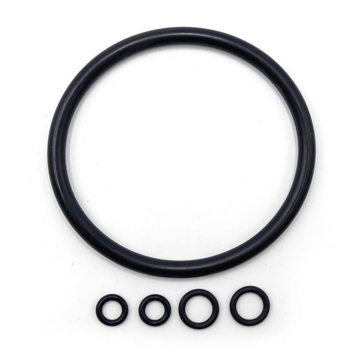 Used Keg Seal Kit, made up of one large O-ring for sealing a keg lid, and four smaller o-rings for ball and pin locks