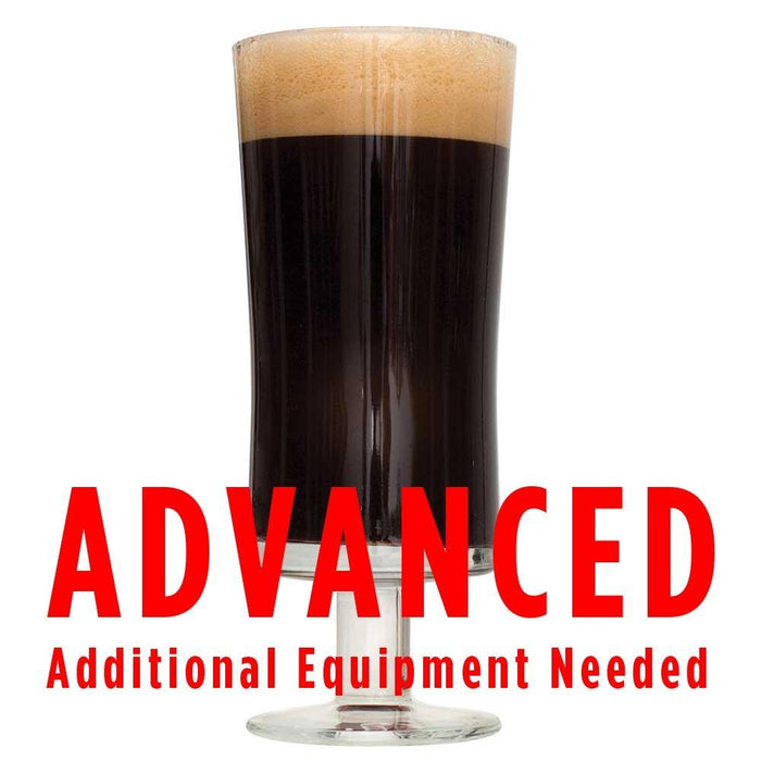 "Chocolate Milk Stout homebrew in a glass with a brew-in-a-bag warning: ""Advanced, additional equipment needed"""