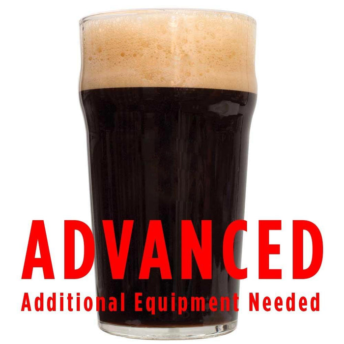 "A drinking glass of Smoke Bomb Imperial Smoked Chipotle Porter with a customer caution in red text: ""Advanced, additional equipment needed"" to brew this recipe kit"
