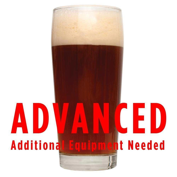 "A drinking glass filled with Private Rye Undercover Brown Ale with a customer caution in red text: ""Advanced, additional equipment needed"" to brew this recipe kit"
