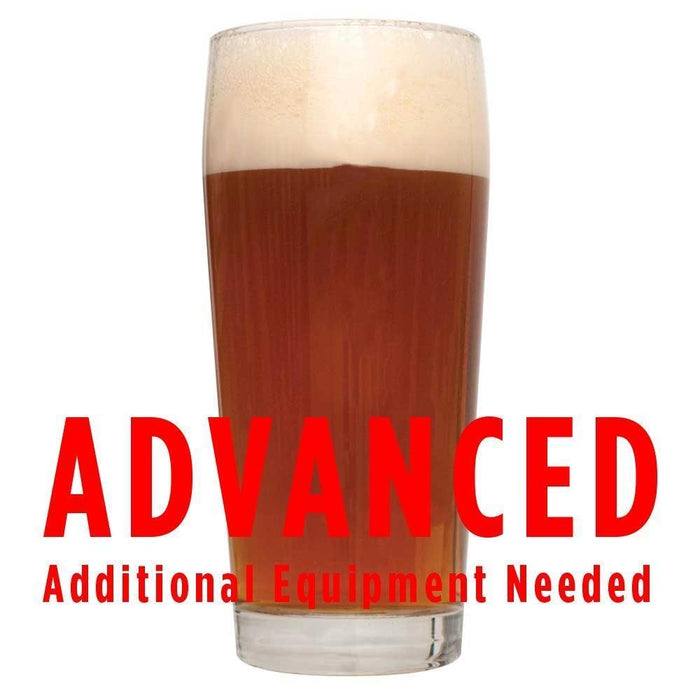 "Brickwarmer Holiday Red homebrew in a glass with an All-Grain warning: ""Advanced, additional equipment needed"""