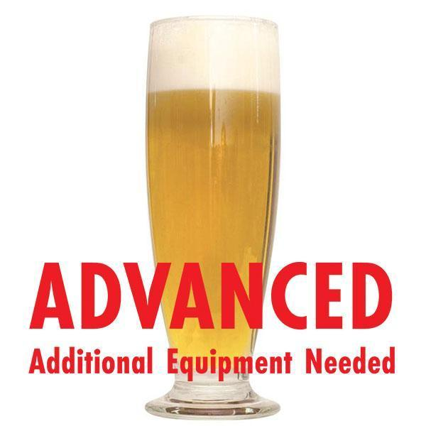 "Brut DryPA homebrew in a tall glass with an All-Grain warning: ""Advanced, additional equipment needed"""