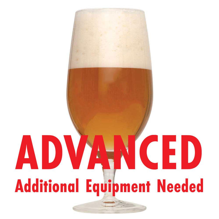 "Exotic Tropic Wheatwine homebrew in a glass with an All-Grain caution: ""Advanced, additional equipment needed"""