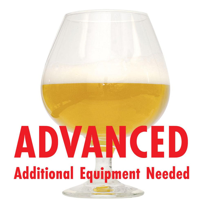 Hazy Eights Double NE IPA in a glass with red text cautioning the customer that this is an all-grain recipe kit and requires additional equipment