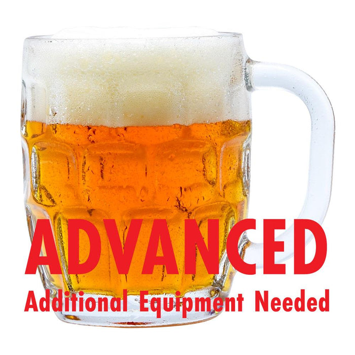 "Maypole Maibock Lager in a mug with an All-Grain caution in red text: ""Advanced, additional equipment needed"""