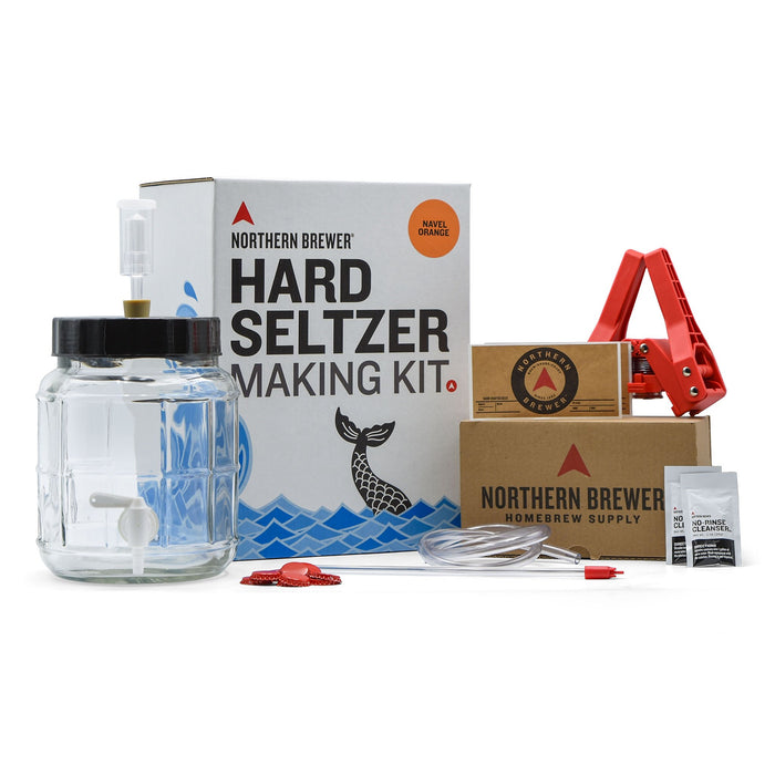 Navel Orange Hard Seltzer Making Kit with all required equipment on display