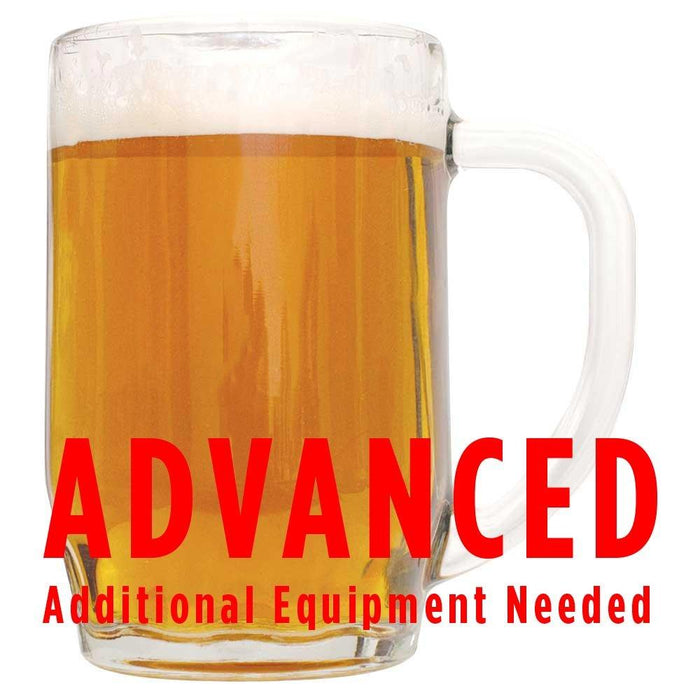 "Coffee Cream Ale in a glass with an All-Grain warning: ""Advanced, additional equipment needed"""