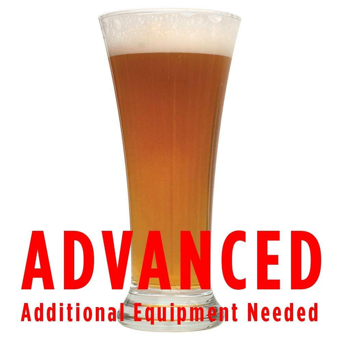 "Obi Ron Wheat homebrew in a glass with an All-Grain caution in red text: ""Advanced, additional equipment needed"""