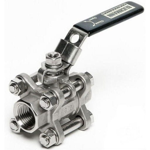 "3-piece Stainless Steel Ball Valve - 1/2"" NPT"
