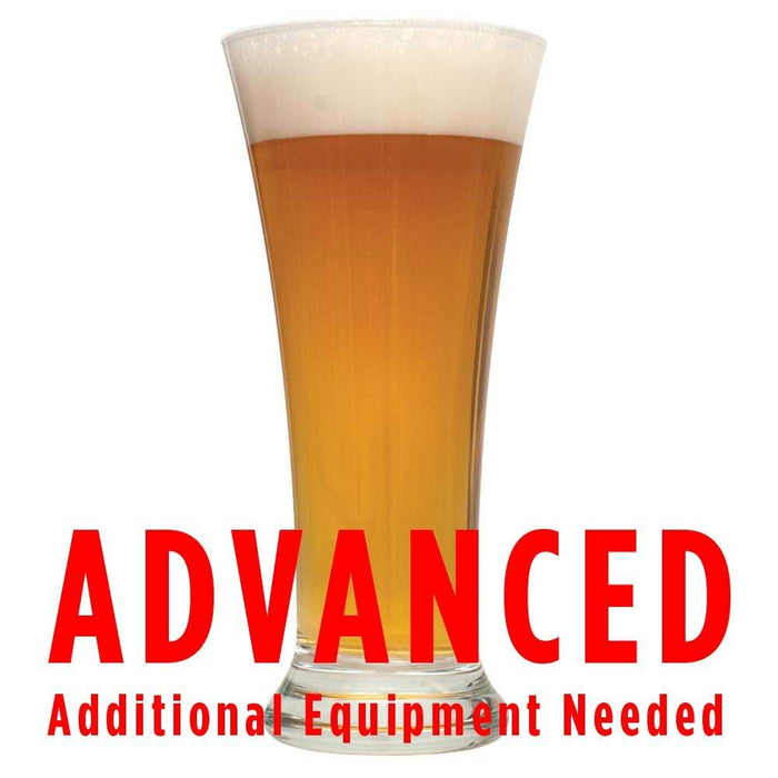 "Glass of Bloodthirsty Blood Orange Saison homebrew with an All Grain warning: ""Advanced, additional equipment needed"""
