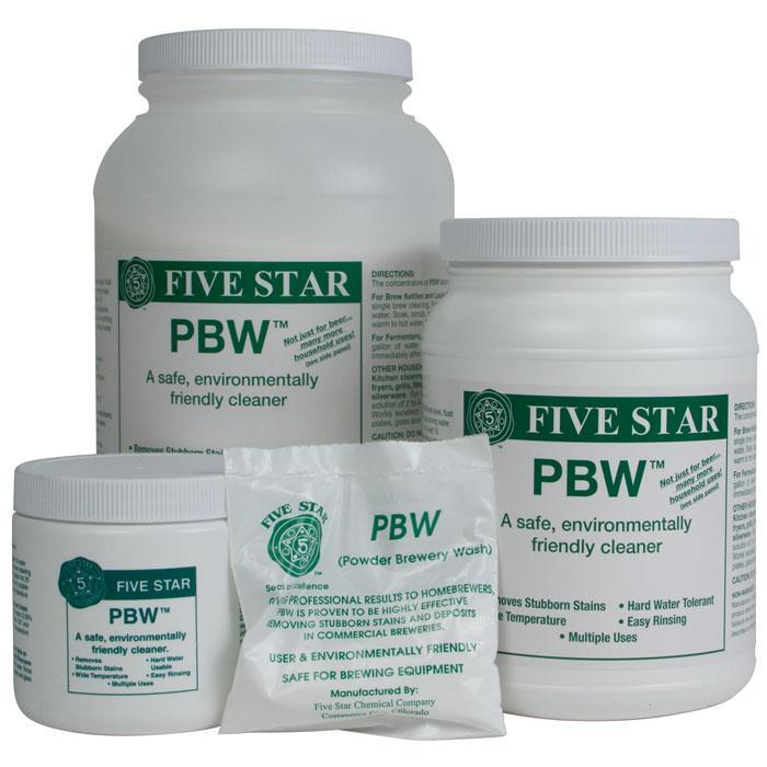 2 ounce, 1-pound, 4-pound, and 8-pound containers of Powdered Brewery Wash