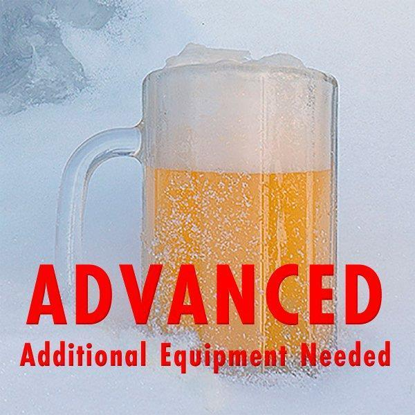 "Permafrost India White Ale in a frosty mug sitting in a pile of snow with a customer caution in red text: ""Advanced, additional equipment needed"" to brew this recipe kit"