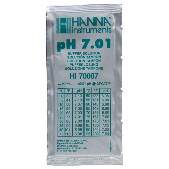 Buffer Solution pH 7.01 in a 20 ml sachet