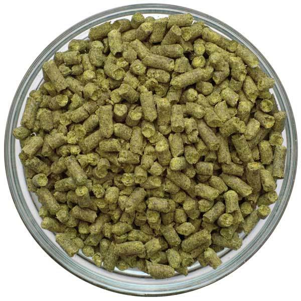 Simcoe Hop Pellets in a display bowl