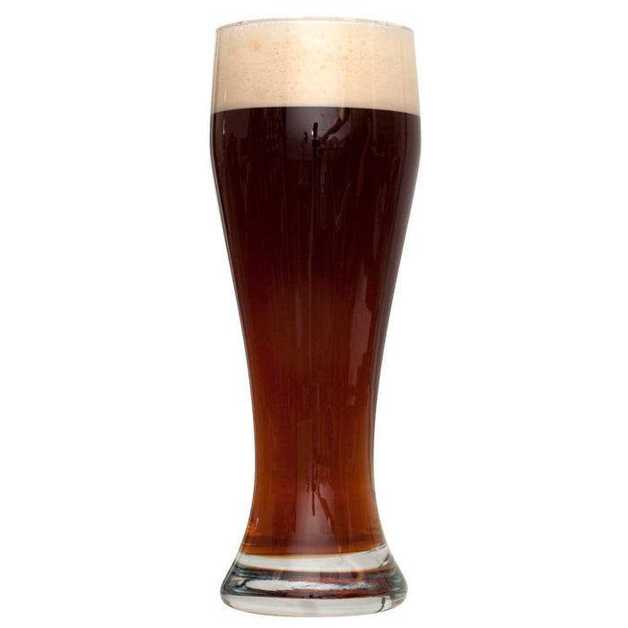 Tall glass of Dunkelweizen homebrew