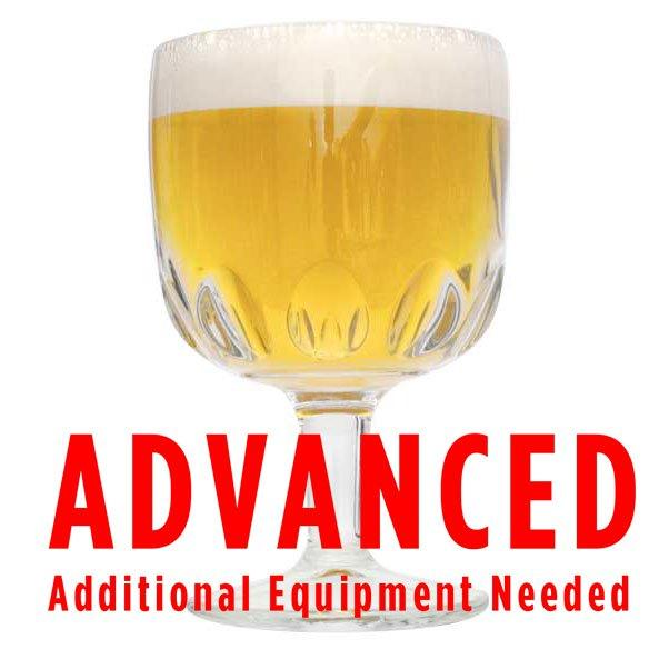 "Belgian Tripel homebrew in a drinking chalice with an All Grain warning: ""Advanced, additional equipment needed"""