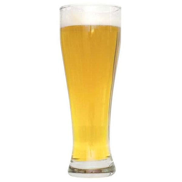 Tall glass filled with Czech Pilsner homebrew