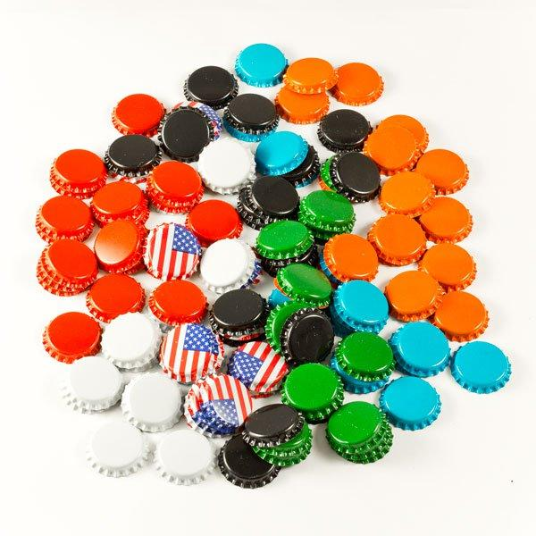 A pile of orange, blue, black, green, red, white, and american flag colored Fermenter's Favorites Crown Beer Bottle Caps