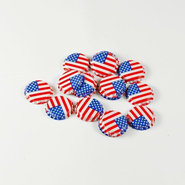 Small pile of American Flag Crown Beer Bottle Caps