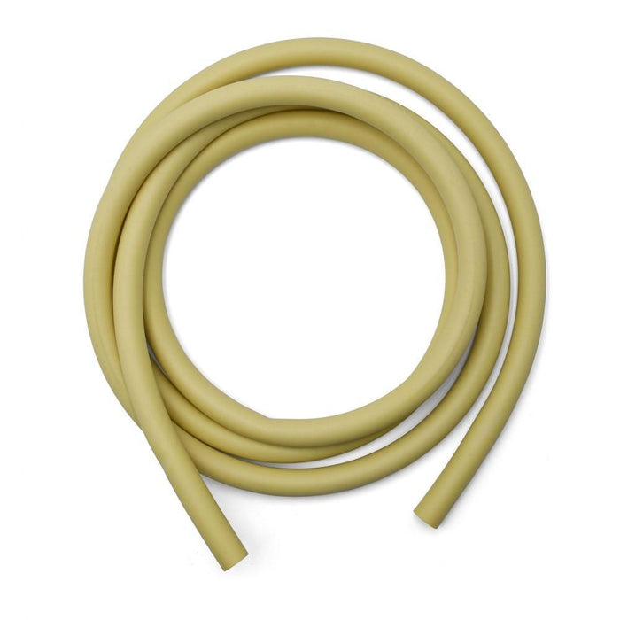 Coiled up beige tubing.