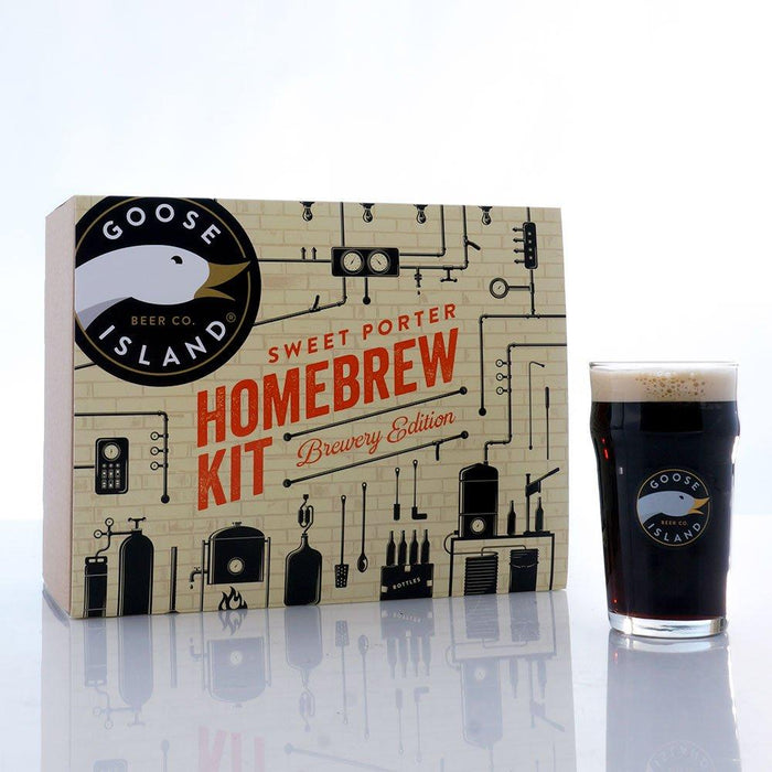 Goose Island Sweet Porter Brewery Edition Extract Kit and homebrew in a glass
