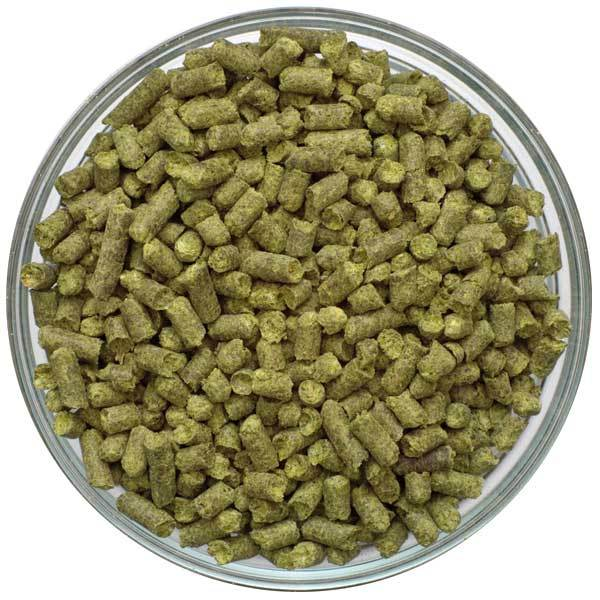 Detail-view of UK First Gold Hop Pellets in a bowl