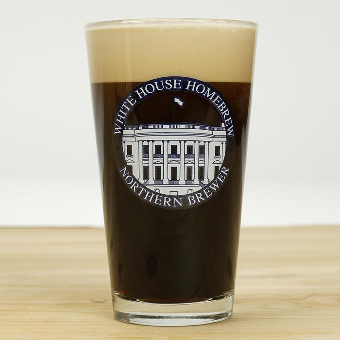 Northern Brewer White House Honey Porter in a glass with a white house logo