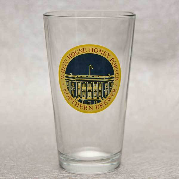 An empty white house honey porter pint glass