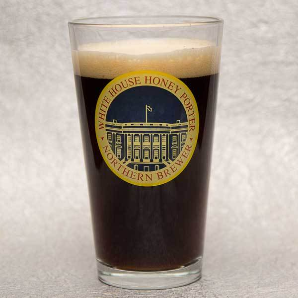 A full White House Honey Porter Pint Glass