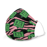 QR Icon Pink Tiger Print Premium face mask