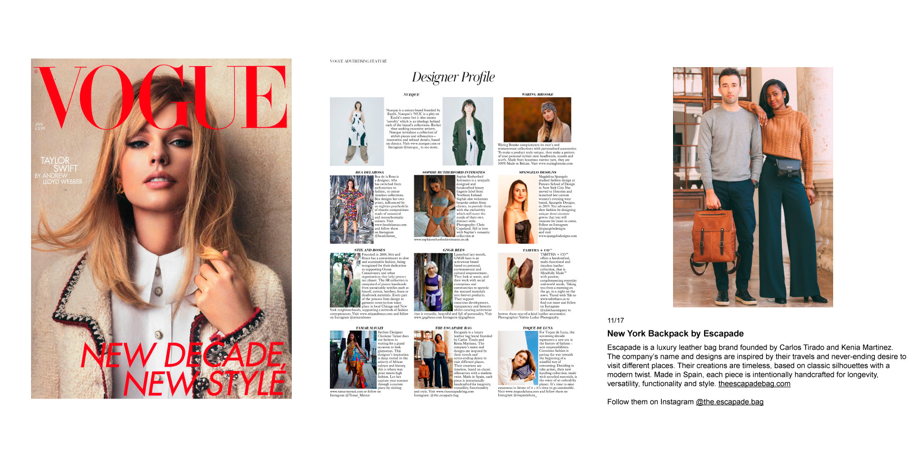 Luxury leather bags publication in British Vogue