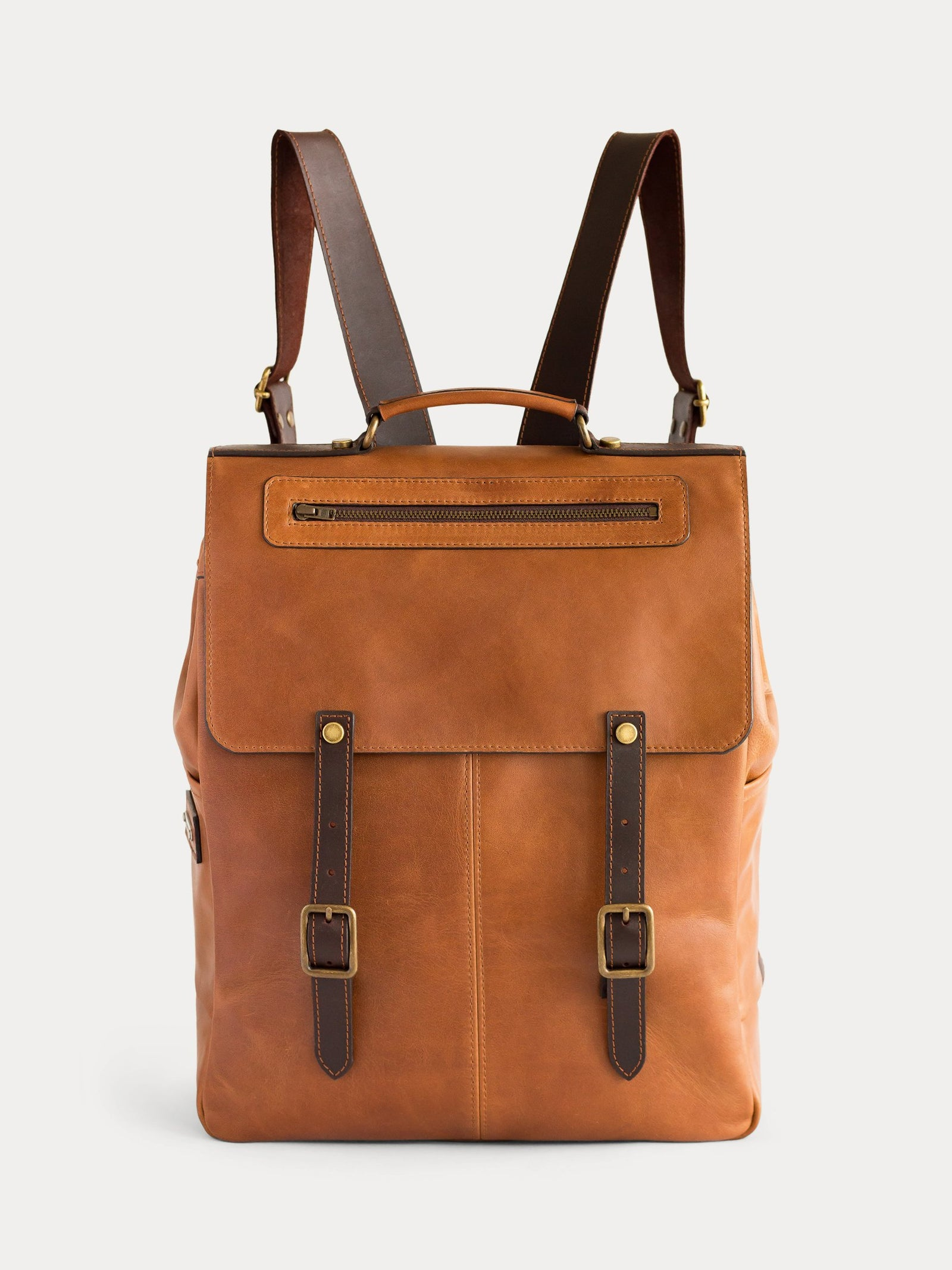 new york camel leather backpack