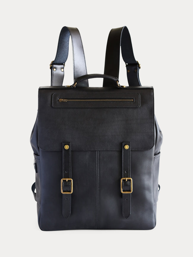 front black full grain leather backpack