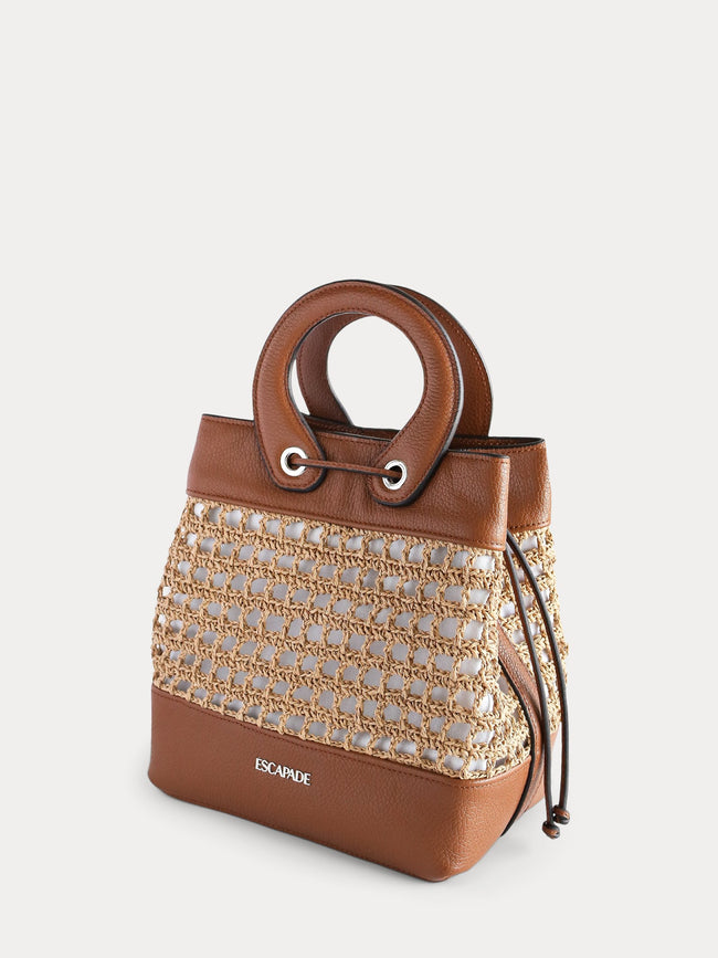 brown paper straw bucket bag