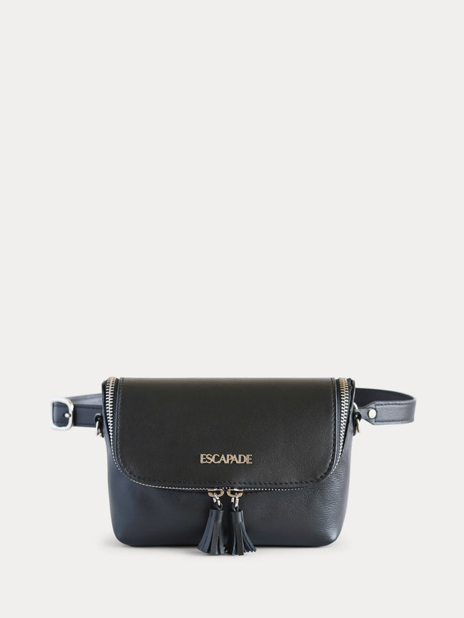 Black leather belt bag for women