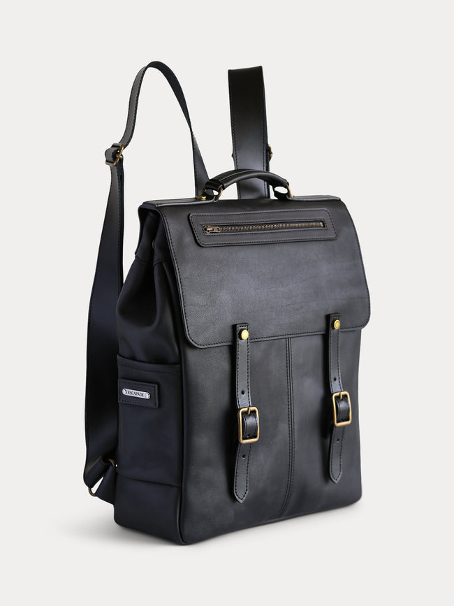 black full grain leather backpack